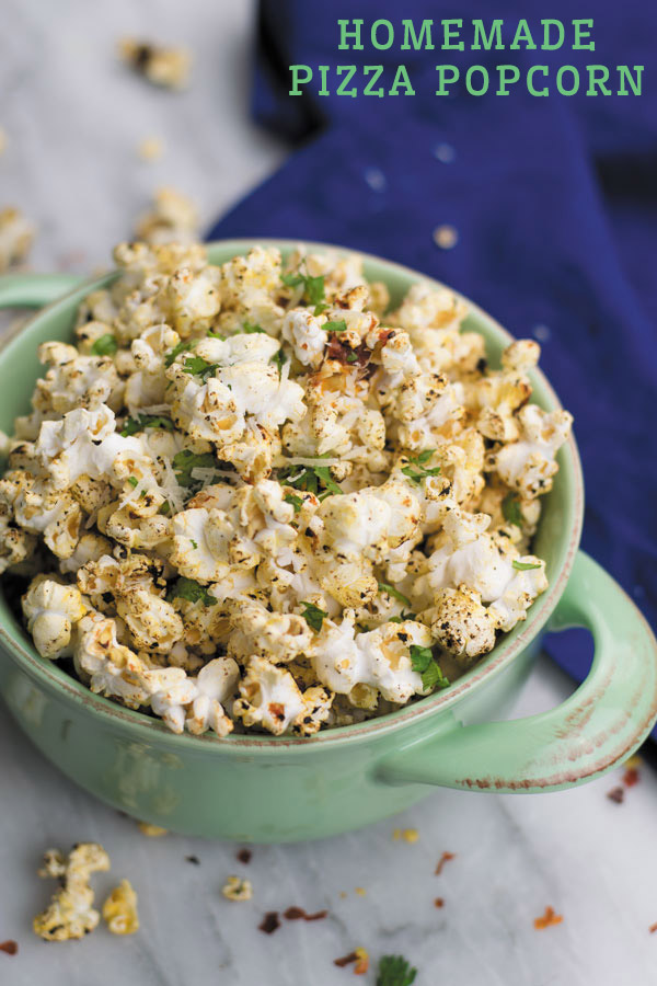 Homemade Pizza Popcorn - Craving pizza but not the extra calories?! Then this PIZZA flavored popcorn is way healthier, takes just few minutes and is totally addicting!