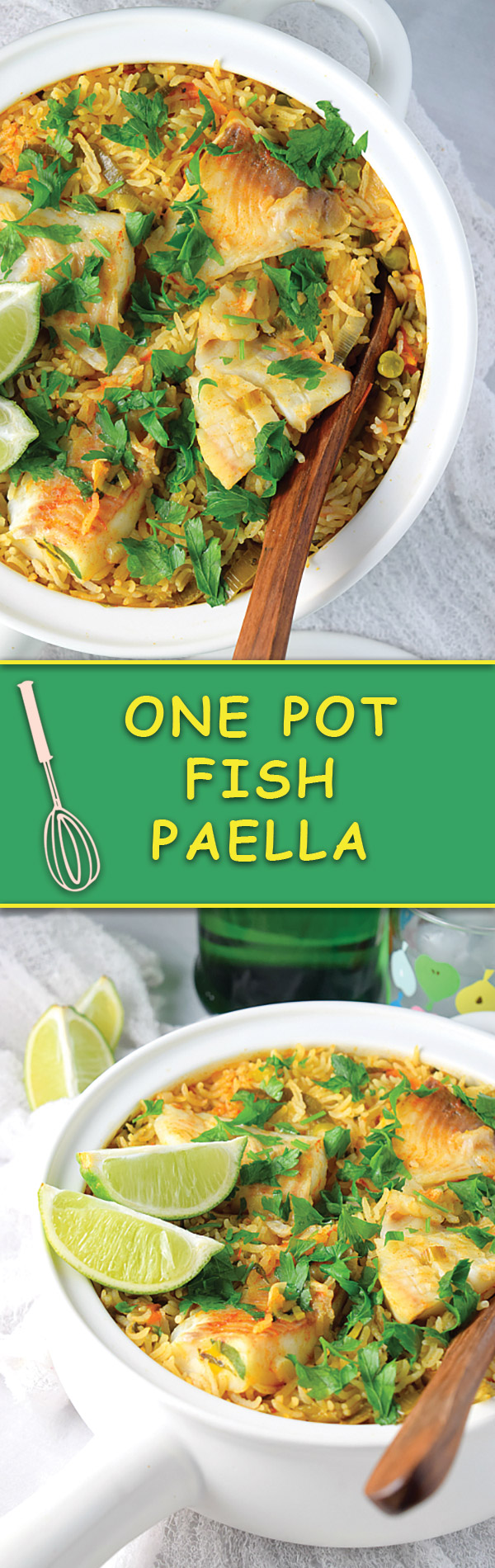 One Pot Fish Paella - a simple light ONE POT meal that takes just few minutes to assemble and is one of our most popular pin of all time! Try for yourself.