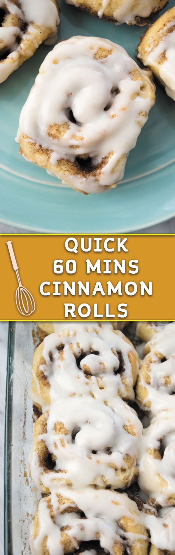 Quick 60 mins Cinnamon Rolls - Now you can have bakery style cinnamon rolls at home in no time! Just 60 mins is all you need to make from scratch cinnamon rolls! Perfect breakfast treat!