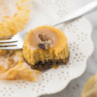 Pumpkin Cheesecake Bites - Delicious Pumpkin Cheesecake in bite forms, easy to serve with caramel sauce and chopped pecans! A perfect fall treat.