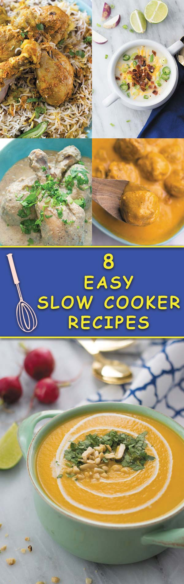 8 Easy Slow Cooker Recipes ->> Put your SLOW COOKER to work and enjoy a delicious comforting meal with just few minutes of prep work! Making DINNER was never this fun!