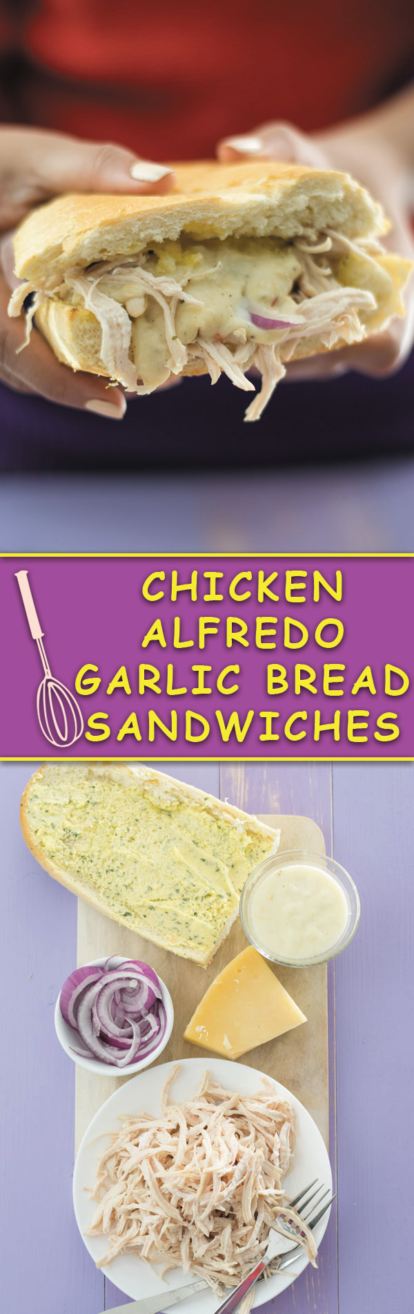 Chicken Alfredo Garlic Bread Sandwiches - super easy weeknight meal BUT with tons of flavor! Shredded chicken, alfredo sauce, parmesan cheese and garlic bread makes for a mean addicting sandwich!