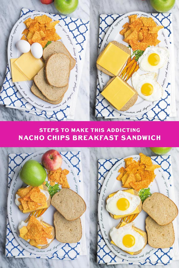 Nacho Chips Breakfast Sandwich - Simple 4 Ingredient breakfast sandwich, nacho chips make simple egg & cheese sandwich everyone's favorite! These are so POPULAR at my place! Kids & Husband approved!
