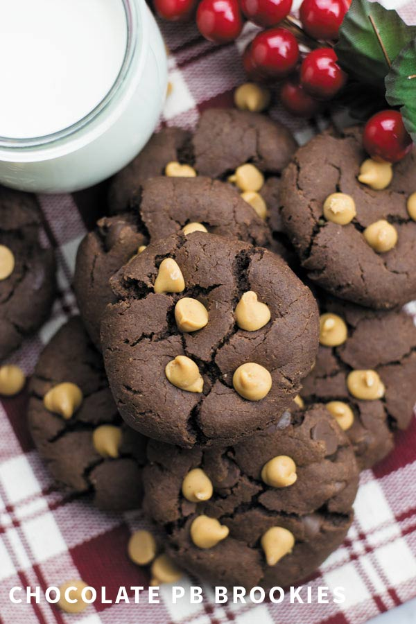 Chocolate PB Brookies - easy, eggless CHOCOLATE BROWNIE COOKIES with PEANUT BUTTER. Popular holiday treat!