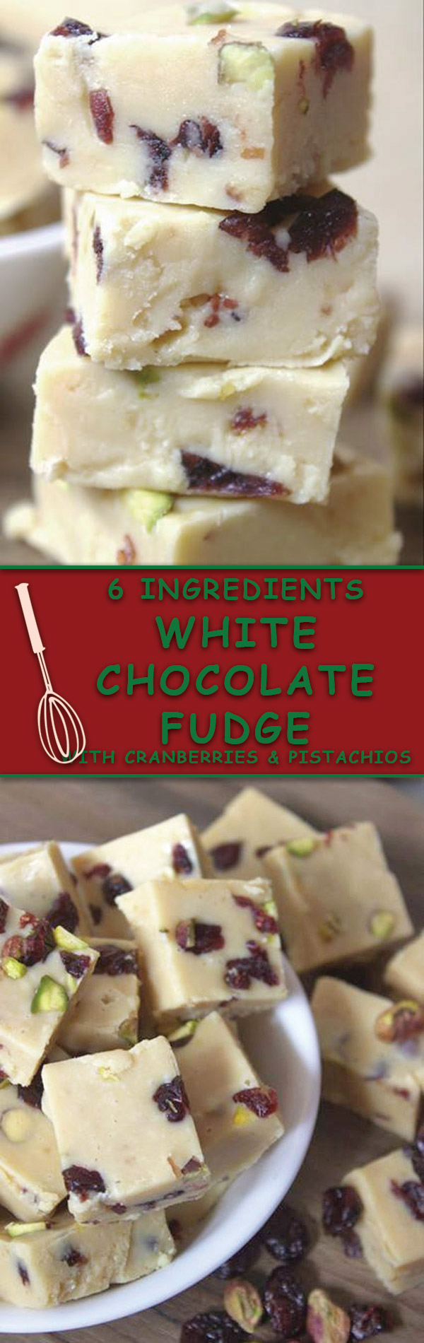 White Chocolate Fudge : Just 6 Ingredients, NO BAKE fudge with cranberries & pistachios. A great holiday gift or perfect for easy holiday desserts!