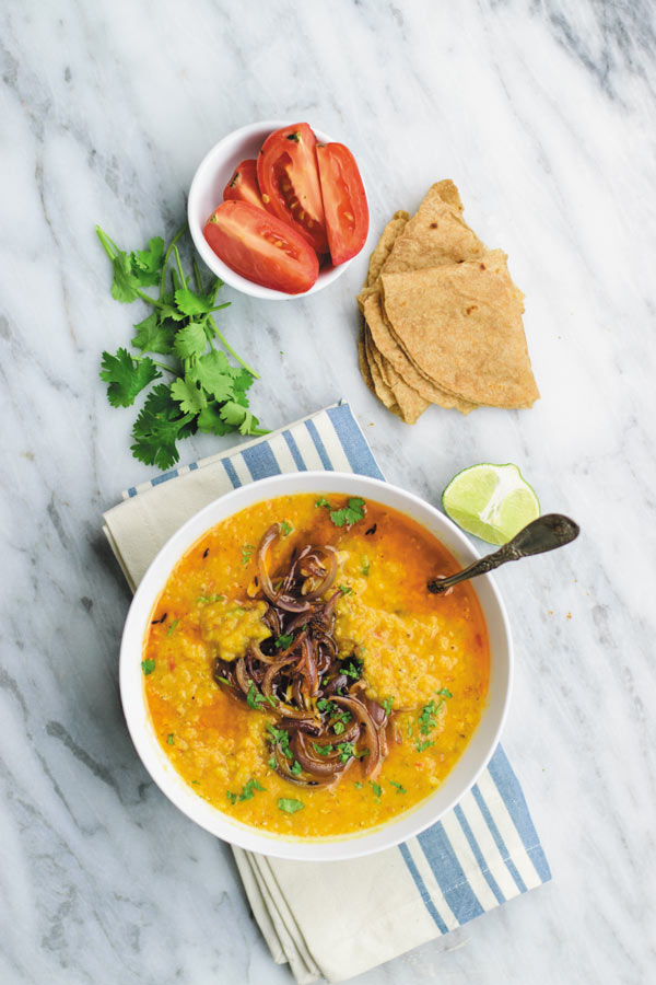 Easy Crockpot Red Lentils - Creamy red lentils made in slow cooker, served with tempered onions. This MEAL I can eat everyday! Simple, CHEAP & protein packed meal which tastes as good as the one at restaurant!