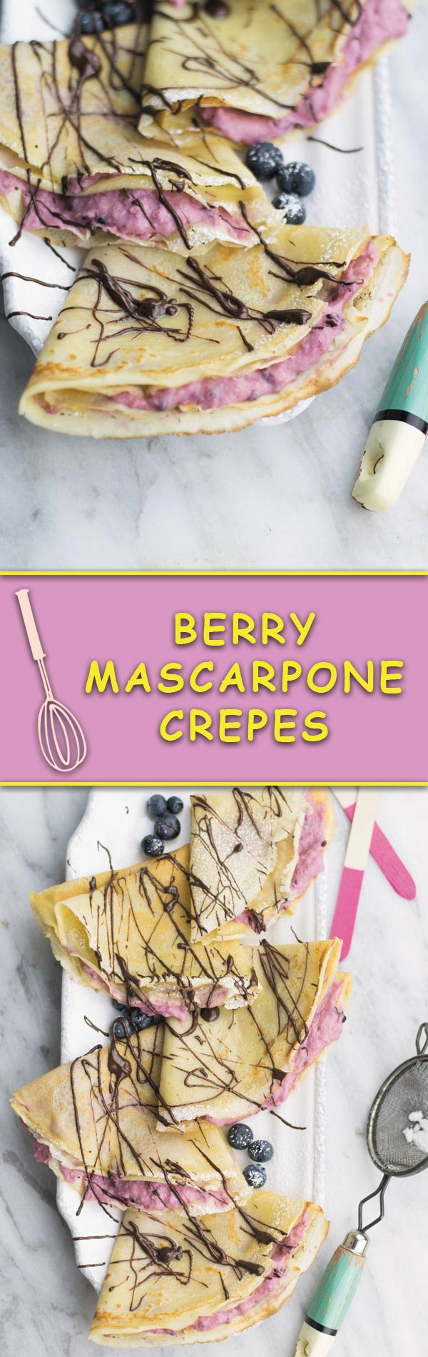 Berry Mascarpone Crepes - delicious from scratch crepes filled with this insanely addicting mixed berries & mascarpone cheese filling.