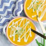 Butternut Squash & Sweet Potato Soup - delicious butternut squash, sweet potato and apple soup, all thrown in slow cooker! Super easy no fuss soup for cold weather!