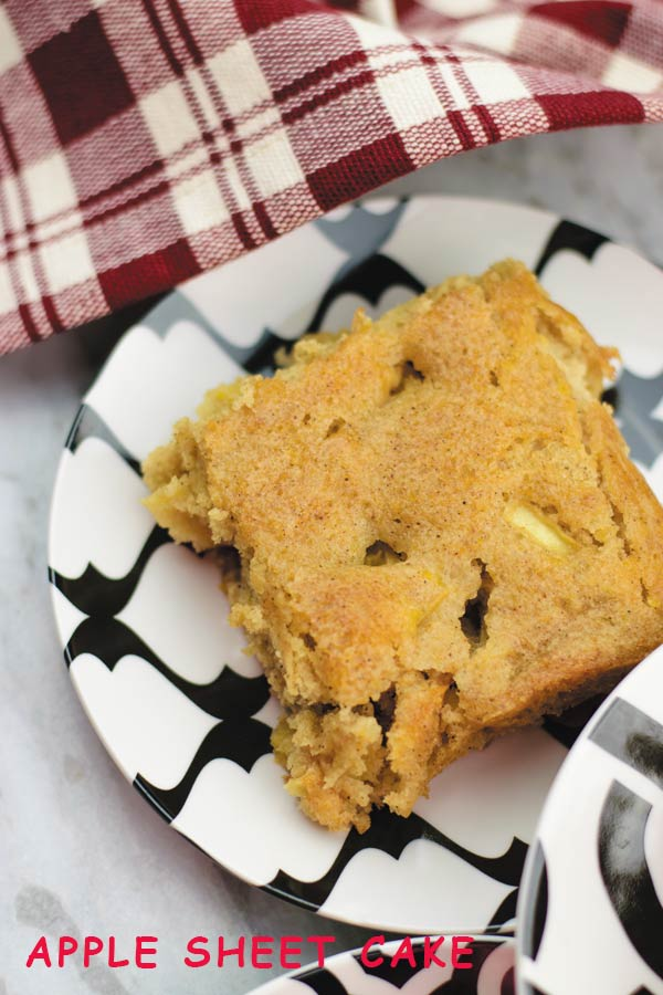 Apple Sheet Cake - easy sheet cake filled with fresh apples and fall spices! A perfect holiday treat.
