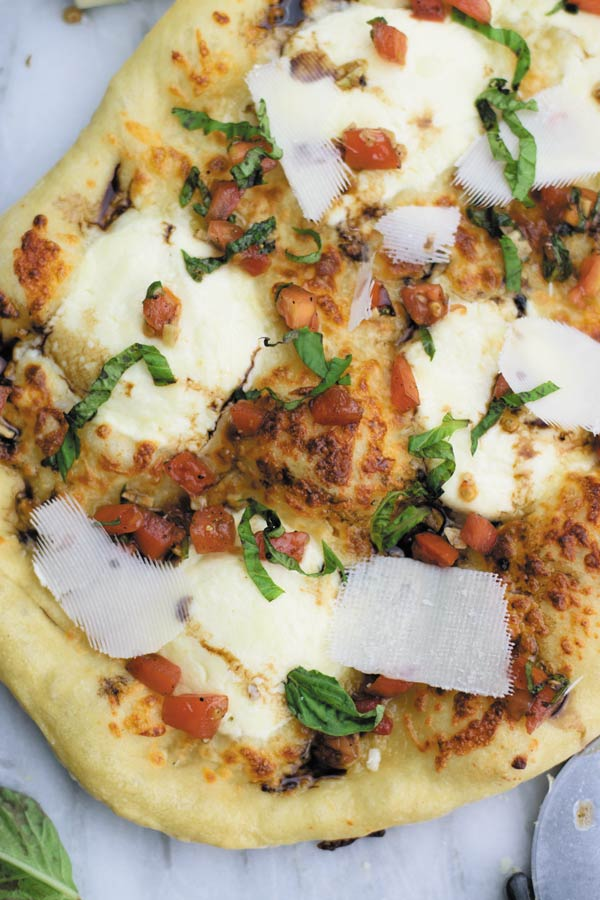 Bruschetta Pizza - Best homemade pizza crust with ricotta & mozarella baked to crispy perfection. Better than restaurant!