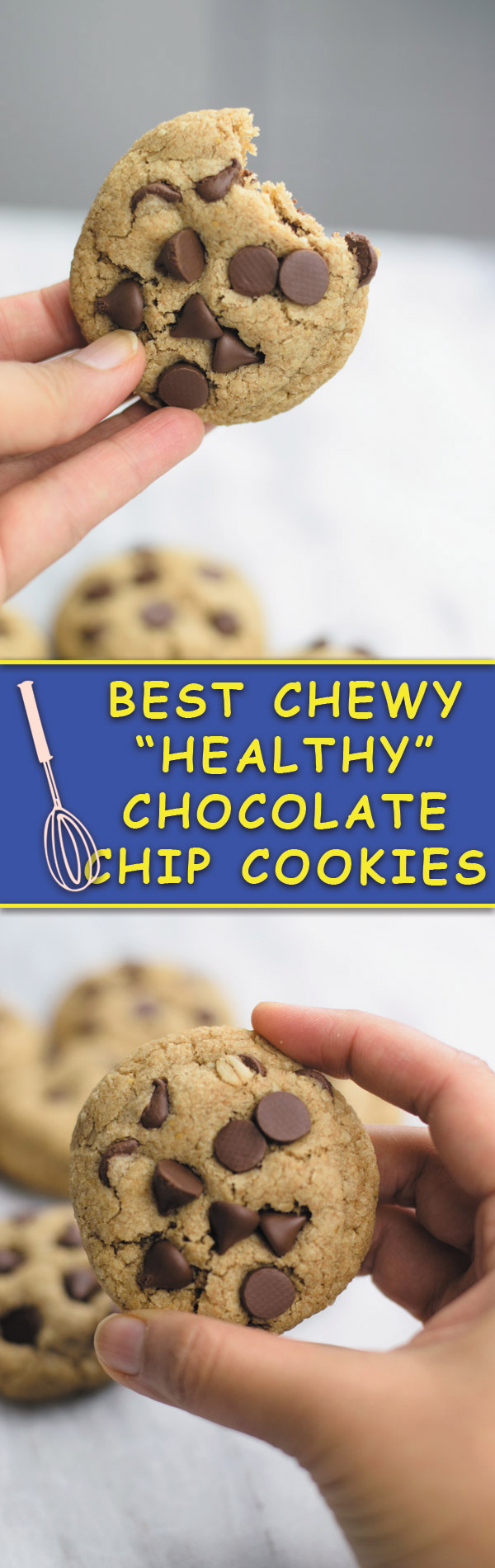 best chewy healthy chocolate chip cookies - THESE cookies have half the fat or regular chocolate chip cookies BUT SAME GREAT SOFT & CHEWY taste! Whole wheat flour and oats make it extra good!