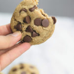 best chewy healthy chocolate chip cookies - THESE cookies have half the fat or regular chocolate chip cookies BUT SAME GREAT SOFT & CHEWY taste! Adding whole wheat flour and oats make them extra healthy! They don't last more than a day at my place!