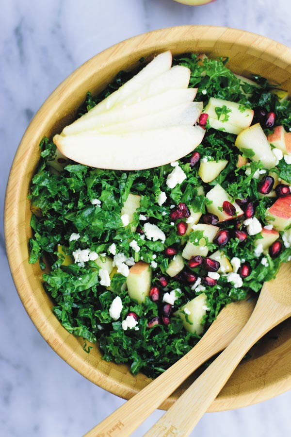 Crunchy Kale Salad - Trying to eat healthier but looking for SIMPLE & DELICIOUS SALADS? This crunchy kale salad with finely chopped kale, apples, pear and feta and a light dressing makes for a yummy fresh salad! Most POPULAR salad at our place.