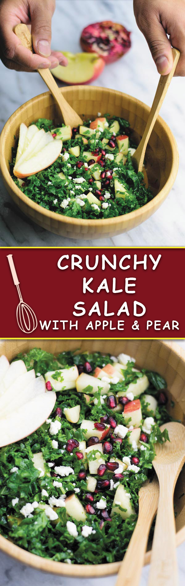 Crunchy Kale Salad - Trying to eat healthier but looking for SIMPLE & DELICIOUS SALADS? This crunchy kale salad with finely chopped kale, apples, pear and feta and a light dressing makes for a yummy fresh salad!