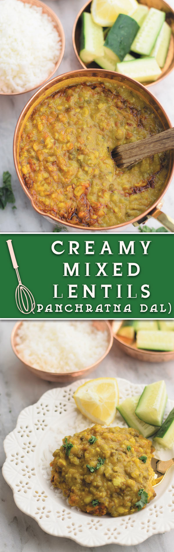 Creamy mixed lentils - Creamy lentils made using 5 kinds of lentils with tomatoes & onions. So creamy, addicting and pure comfort food!