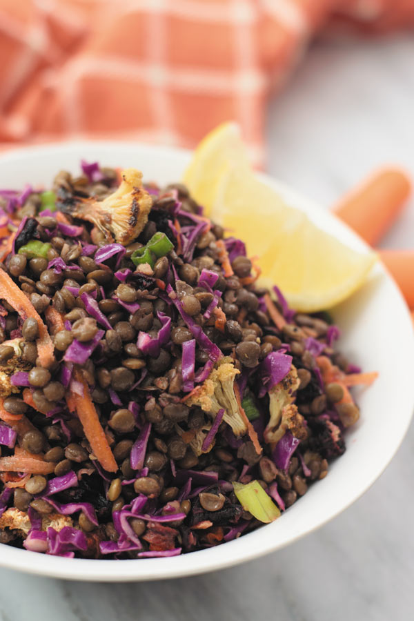 Roasted Vegetable Lentil Salad - Delicious & healthy LENTIL SALAD with roasted vegetables, crunchy cabbage & carrots and simple vinegar & olive oil dressing! Super filling & so good warm or at room temperature!