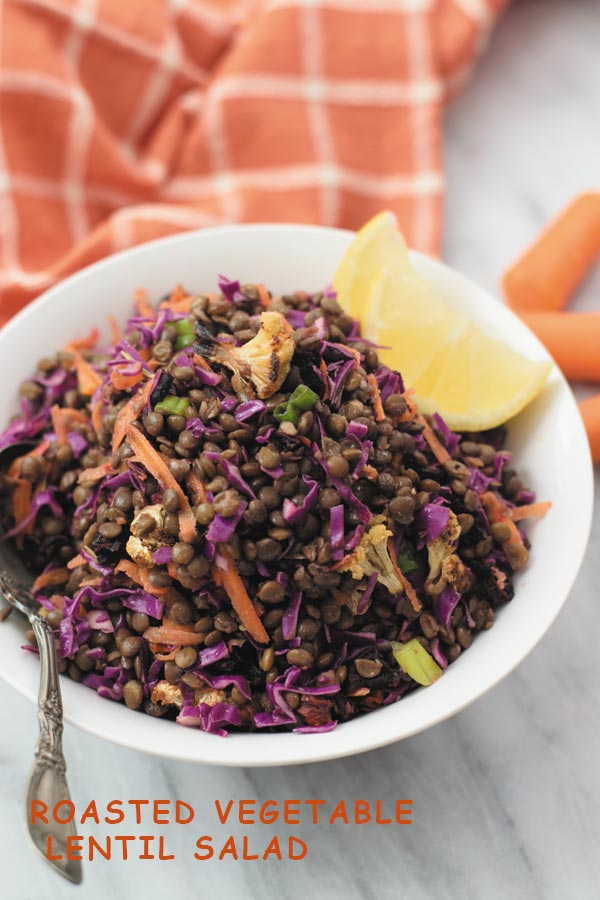 Roasted Vegetable Lentil Salad - Delicious & healthy LENTIL SALAD with roasted vegetables, crunchy cabbage & carrots and simple vinegar & olive oil dressing! Super filling & leftovers are great for lunch throughout the week.