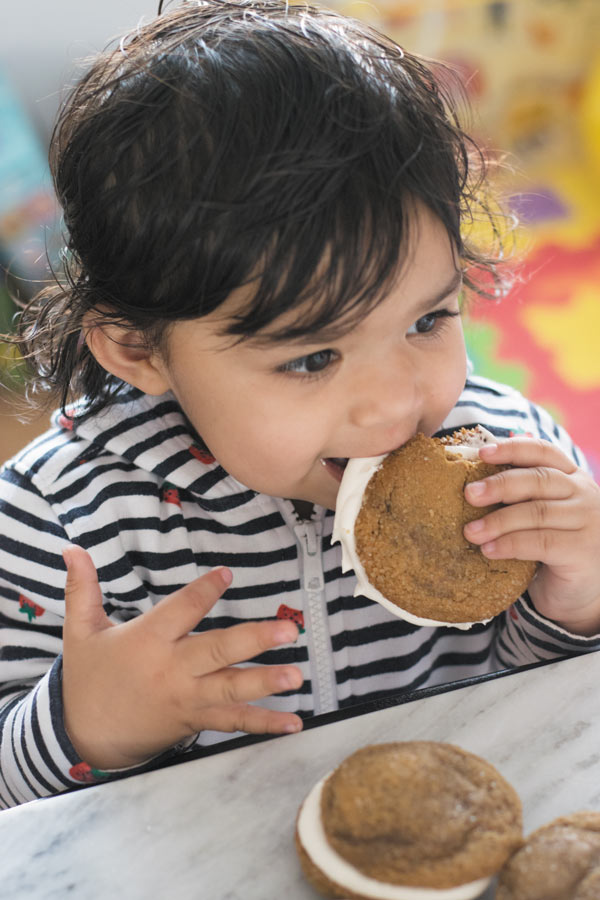 baby eating soft & chewy ginger cookies