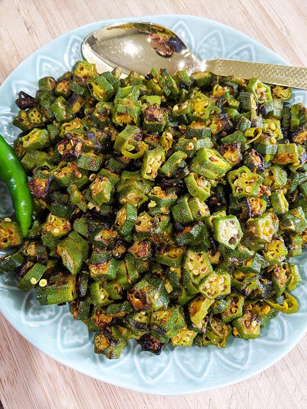 Quick stir fry okra bhindi 1