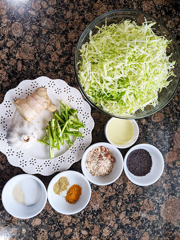 Cabbage & Peanut Stir Fry ingredients