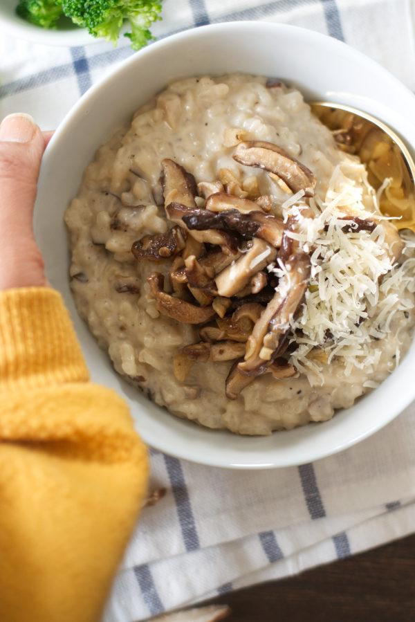 creamy shitake mushroom & gorgonzola risotto bowl cozy