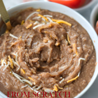 from scratch creamy flavorful refried beans ready to eat title