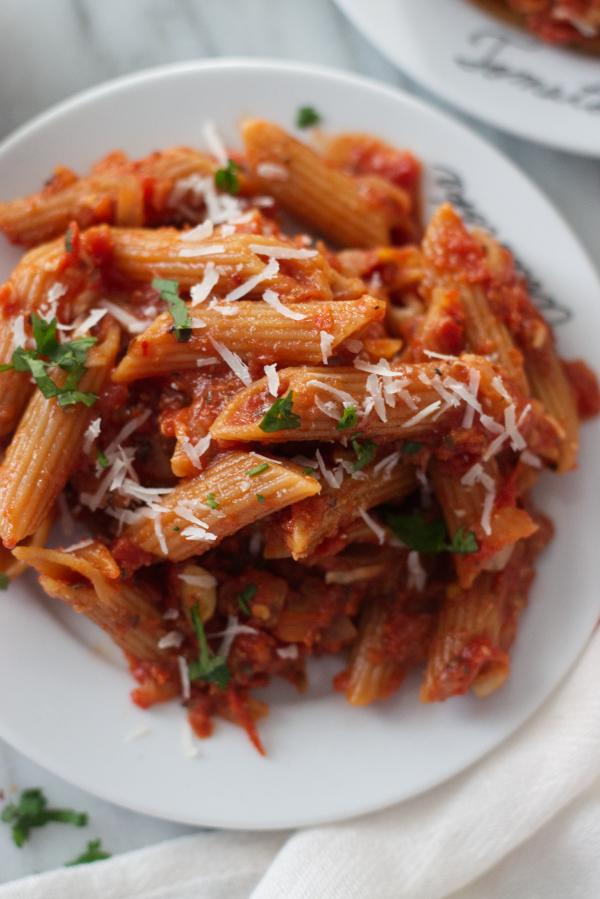 healthy arrabiata lentil pasta spicy