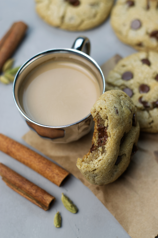 masala chai chocolate chip cookies fall spiced