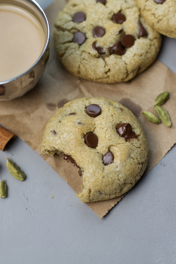 masala chai chocolate chip cookies spiced cookie