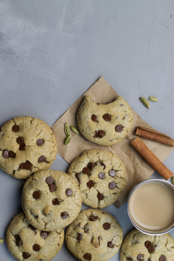 masala chai chocolate chip cookies spiced