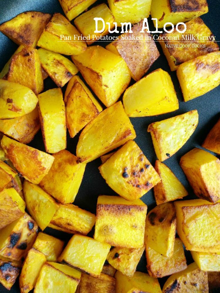 Dum Aloo - Fried Potatoes in Coconut Gravy