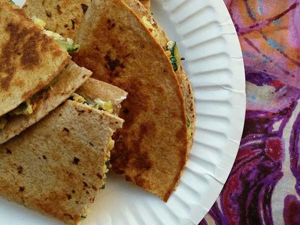 Zucchini and Goat Cheese Breakfast Wraps