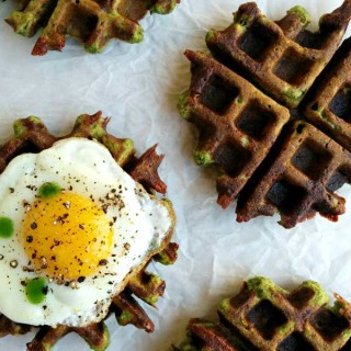 Cooked Multigrain Spinach and Cheese Waffles