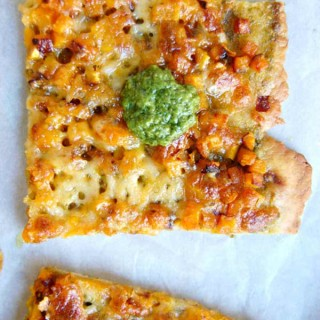 Caramelized Butternut Squash Pizza with BasilPesto