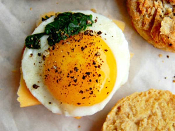 Egg and Cheese Biscuits With Greens