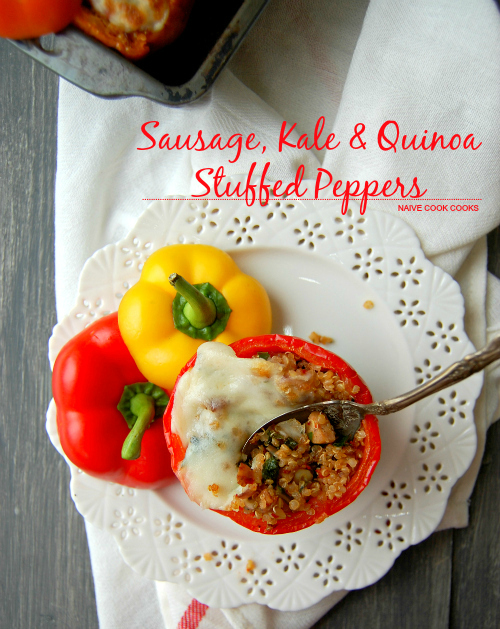 Sausage, Kale and Quinoa Stuffed Peppers