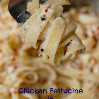Chicken Fettucine in Whiskey Gouda Sauce.