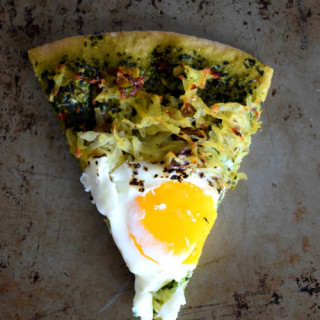 Hashbrown Breakfast Pizza with Kale Pesto