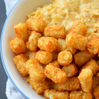 Apple Cider Mac and Cheese with Tater Tots