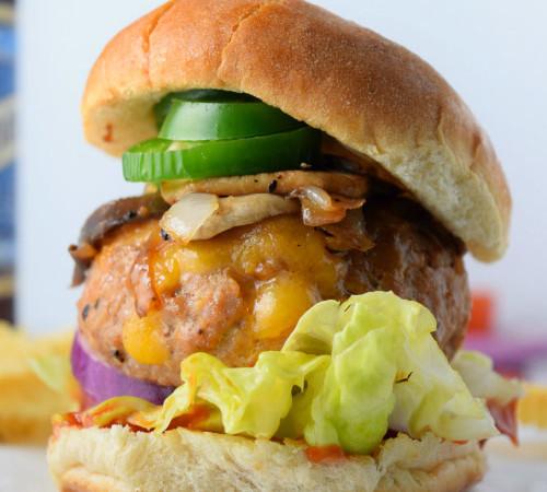 Cheese Stuffed Cajun Turkey Burgers