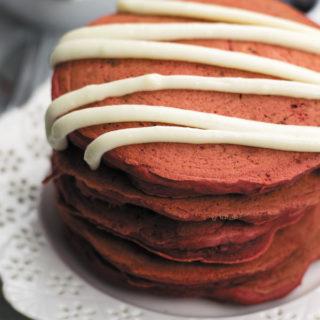 Eggless Red Velvet Pancakes - just 20 Mins, basic pantry ingredients needed. Softest pancakes ever!