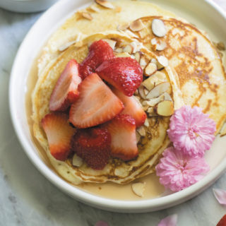 toasted almond strawberry pancakes breakfast title - Delicious & Easy FROM SCRATCH pancakes with TOASTED ALMONDS & STRAWBERRIES. This combination tastes so good!