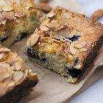 Slice of almond blueberry snacking cake