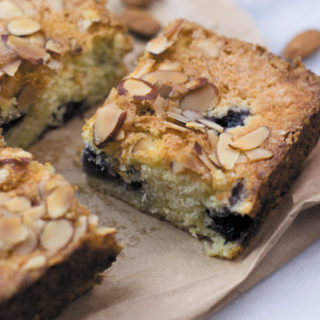 Slice of almond blueberry snacking cake