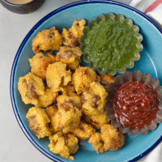 crispy potato lentil fritters with chutney